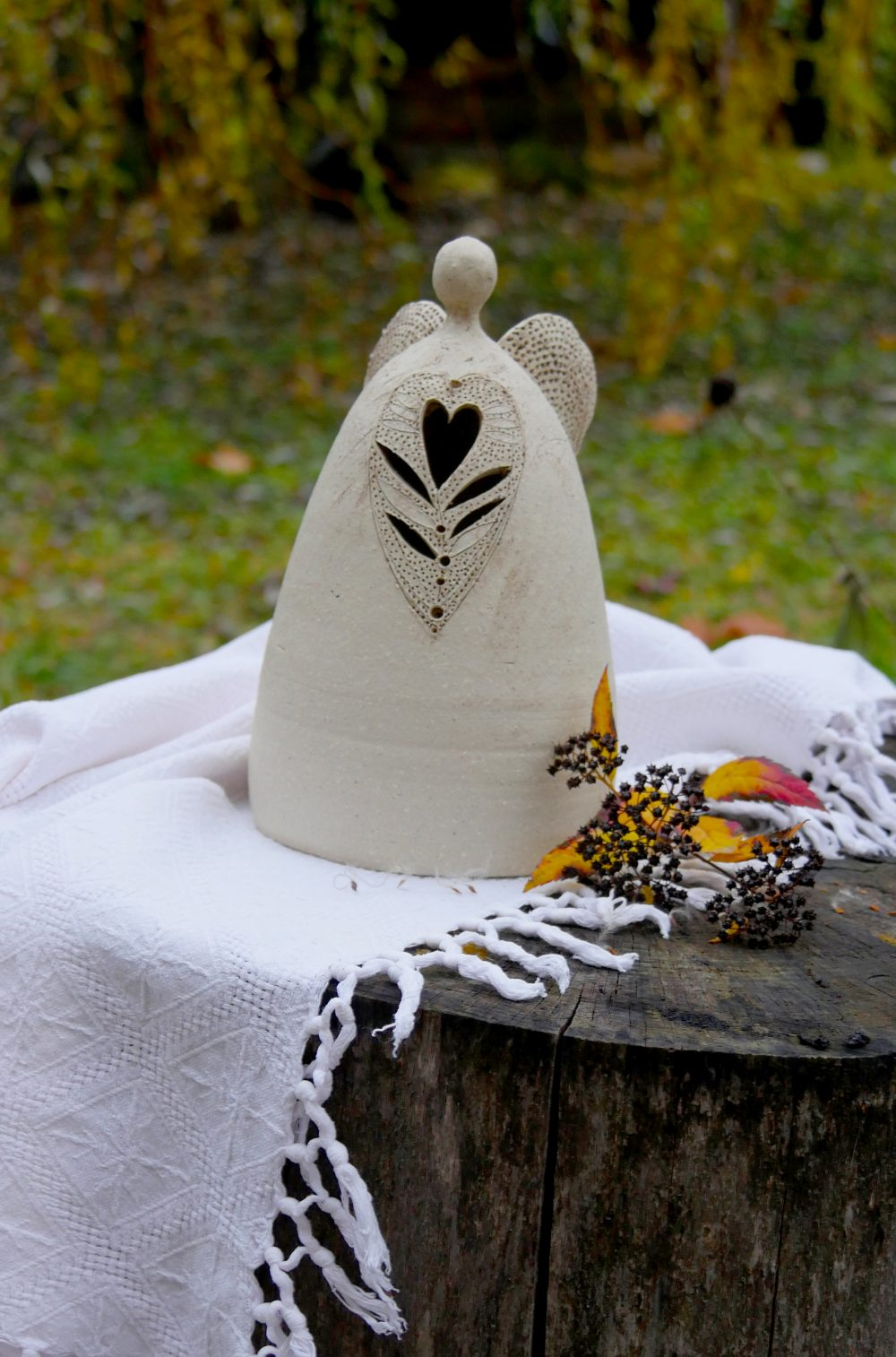 Keramický svietnik Anjel